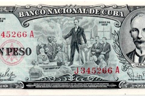 CUBA 1959 JOSE MARTI 1 PESO UNC.