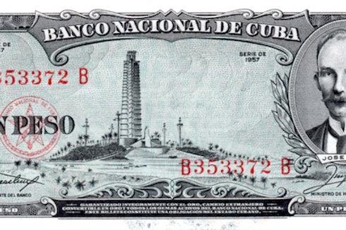 CUBA 1 PESO UNC 1957 SIN CIRCULAR ESCASO.