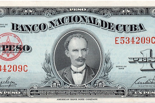 1949 CUBA 1 PESO SIN CIRCULAR JOSE MARTI LINDO BILLETE