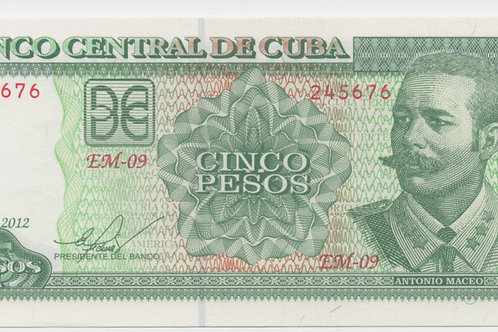 2012 CUBA 5 PESOS BCC UNCIRCULATED ANTONIO MACEO - EM-09