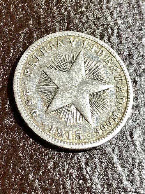 Cuba 10 centavos 1915 Silver patria y libertad.