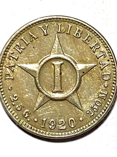 Cuba 1 centavo 1920 súper condition