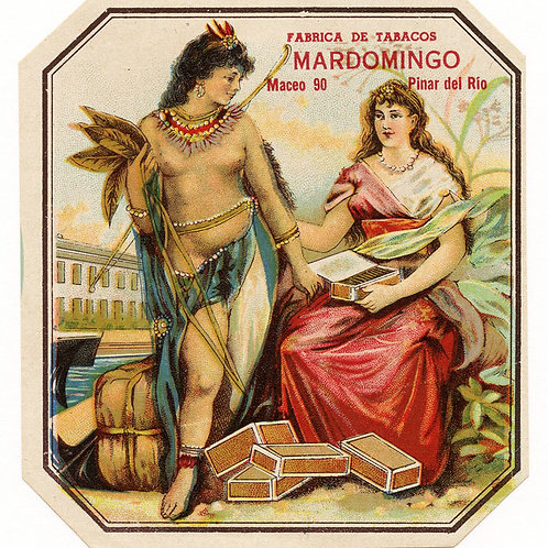 1920s period Pinar del Rio Mardomingo Cuban Cigar label. Measures 4.3 x 4.5 inch