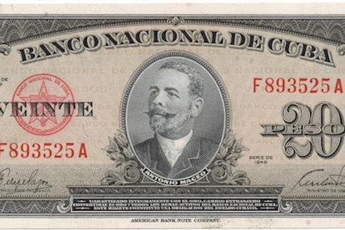 1949 CUBA 20 PESOS ANTONIO MACEO