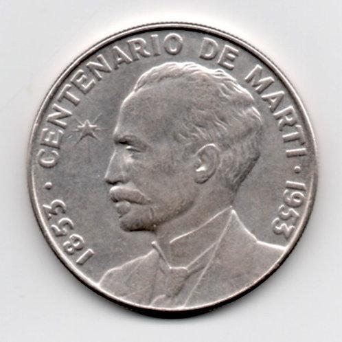 CUBA 1953 CENTENARIO DE J. MARTI 1 PESO PLATA