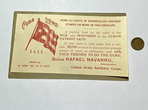 1898 BONO CUBAN PATRIOT ARMY 20 CENTS VERY RARE SUPER CONDITION.
