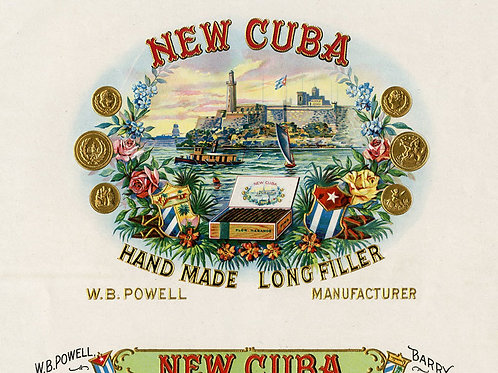 Late 1890s period New Cuba Cigar label with a beautiful vignette of the Havana