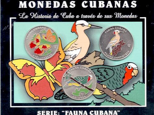 CUBA 2001 SERIE  FAUNA CUBANA COLECCION  3 MONEDAS 1 PESO EN SU ESTUCHE SELLADO