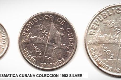 1952 CUBA COLECCION DE MONEDAS CONMEMORATIVAS LOT 3 SILVER.