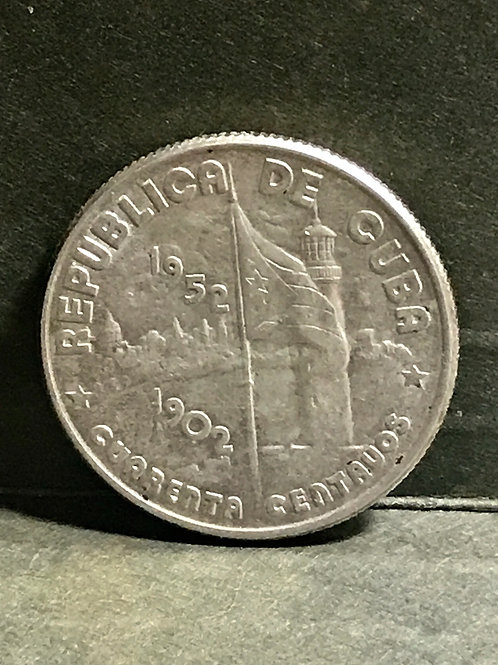Cuba 40 centavos 1952 silver unc