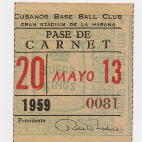 CUBA BASE BALL CLUB GRAN STADIUMDE LA HABANA SUGAR KINGS MAYO 13 -1959 #0081
