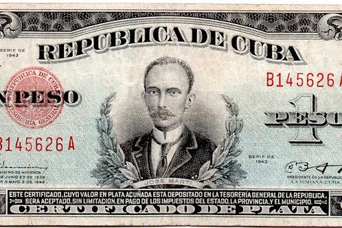 1943 cuba certificado de plata 1 peso  firmado por batista presidente escaso