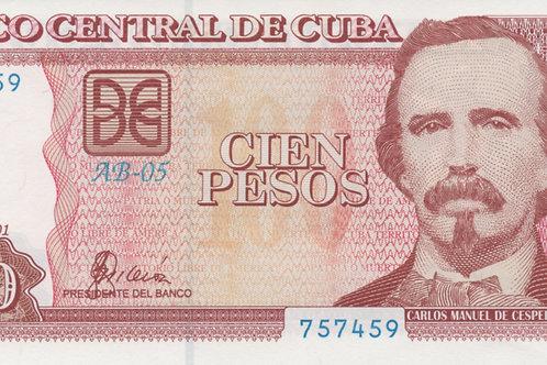 100 PESOS CUBA 2001-AB-05 UNCIRCULATED.