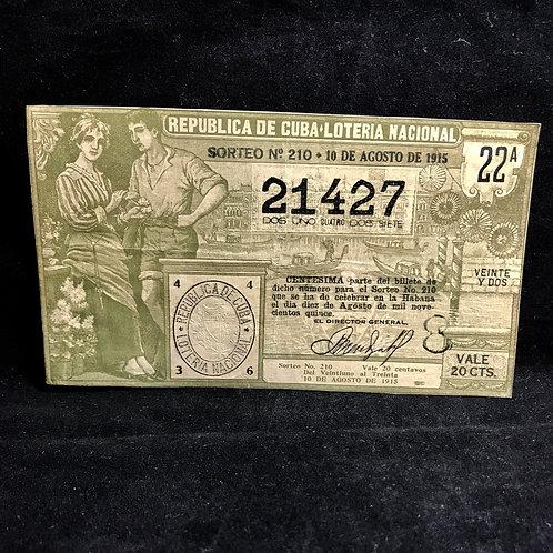 1915 loteria nacional de la Republica De Cuba
