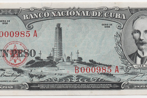 1956 CUBA 1 PESO # LOW UNCIRCULATED JOSE MARTI.