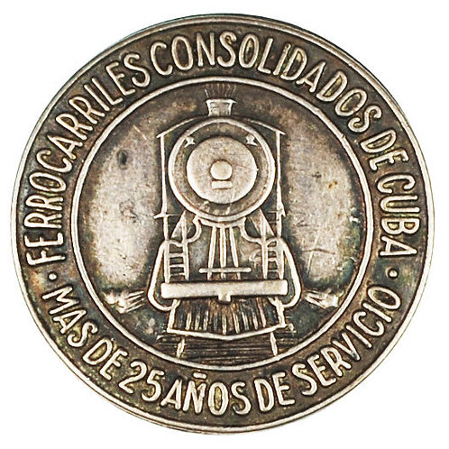1950S FERROCARRILES CONSOLIDADOS DE CUBA RAILROAD 25 YEARS SERVICE SILVER PIN