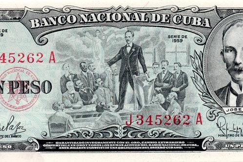 1 PESO CUBA 1959 JOSE MARTI EN TAMPA FL UNCIRCULATED