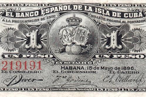 1896 cuba el banco español de la isla de cuba 1 peso colonial.