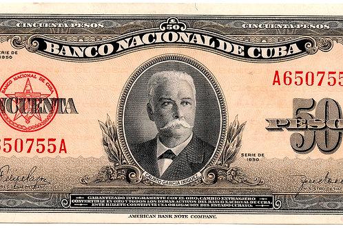CUBA 50 PESOS 1950 AÑO ESCASO SIN CIRCULAR