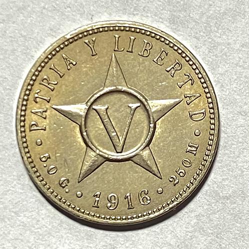 CUBA 5 centavos 1916 año escaso súper condicion