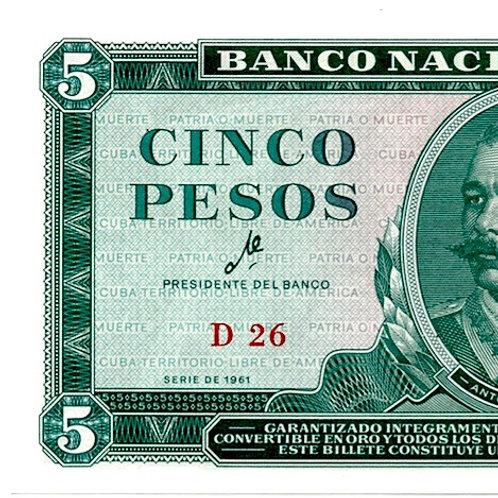1961CUBA 5 PESOS FIRMADO CHE G. UNCIRCULATED