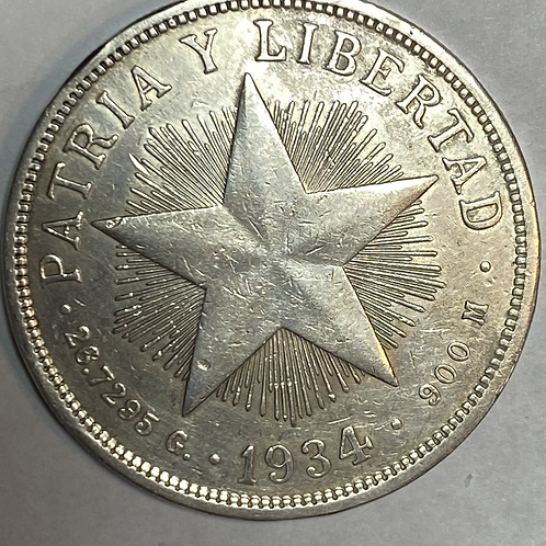 CUBA  1 PESO 1934 ESTRELLA  SILVER