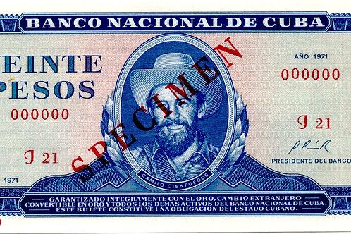 CUBA 20 PESOS 1971 SPECIMEN CAMILO CIENFUEGOS UNC.