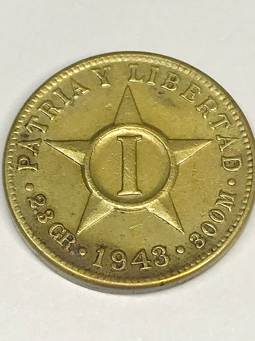CUBA 1943 cobre 1 Cent súper escaso. See condition on photo.