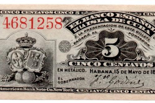 CUBA 1896EL BANCO ESPAÑOL DE LA ISLA DE CUBA 5 CENTAVOS UNCIRCULATED