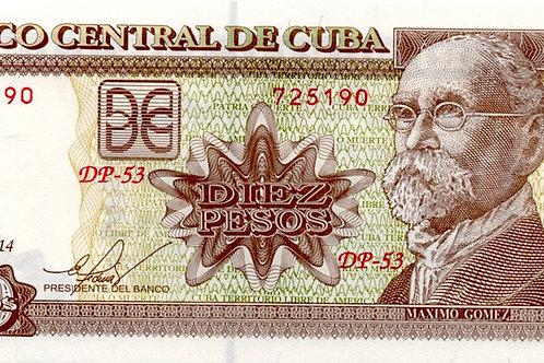 2014 CUBA 10 PESOS BANCO NACIONAL BCC -UNCIRCULATED