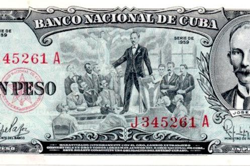 CUBA 1 PESO UNC 1959 MARTI EN TAMPA SIN CIRCULAR.