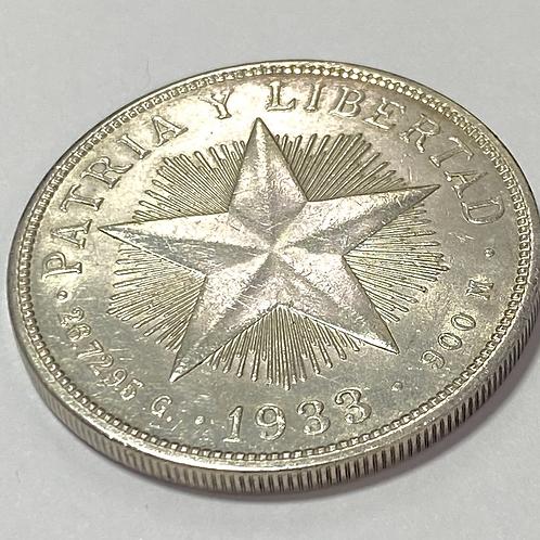 CUBA 1933 SILVER 1 PESO