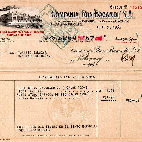 CUBA CHEQUE COMPAÑIA RON BACARDI S.A. JULIO 7 1953.
