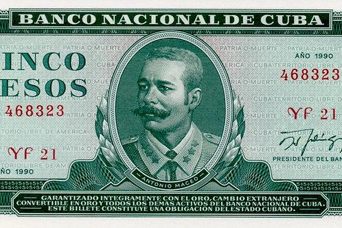 1990 CUBA 5 PESOS UNCIRCULATED ANTONIO MACEO.