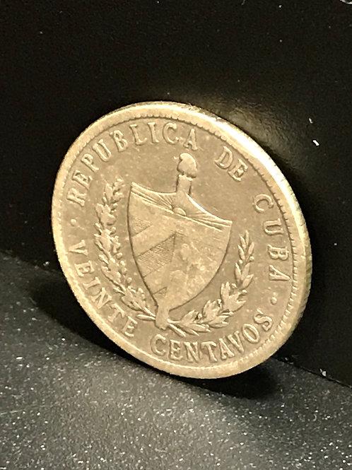 1932 CUBA 20 CENTAVOS SILVER VERY SCARCE
