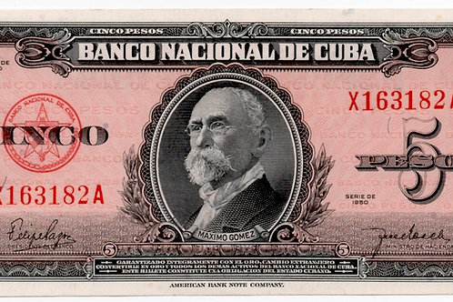1950 CUBA 5 PESOS UNCIRCULATED # SERIES ROJO ESCASO.
