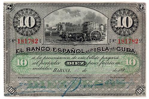 1896 Banco Español de la Islade Cuba 10 PESOS RARO NO CUÑO PLATA.