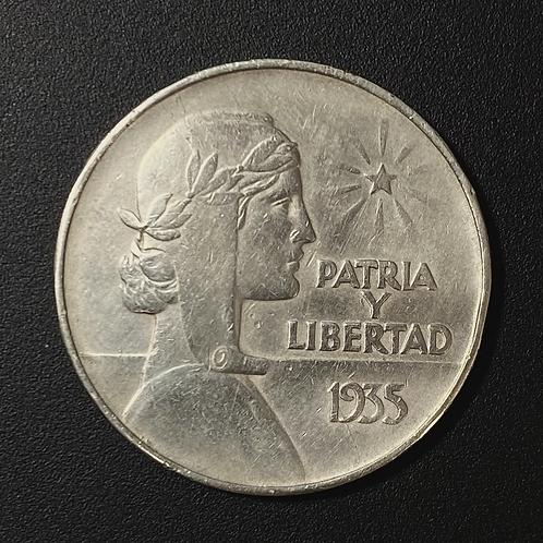 CUBA 1 PESO 1935 ABC SILVER