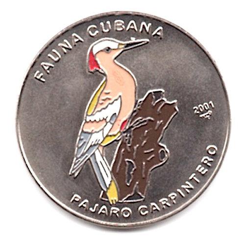 1 PESO 2001 FAUNA CUBANA PAJARO CARPINTERO CUBA UNCIRCULATED