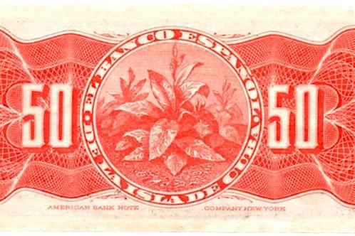 CUBA 1896 EL BANCO ESPAÑOL DE LA ISLA DE CUBA 50 CENTAVOS PLATA