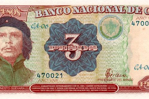1995 CUBA 3 PESOS UNC CHE  SERIE CA-06