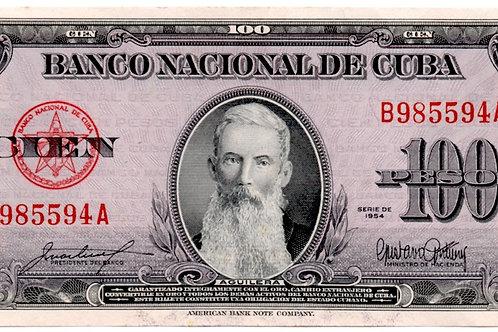 CUBA 100 PESOS 1954 SIN CIRCULAR AGUILERA.