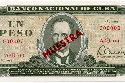 1985CUBA 1 PESO MUESTRAUNCIRCULATED