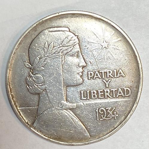 CUBA 1934 ABC PLATA 1 PESO
