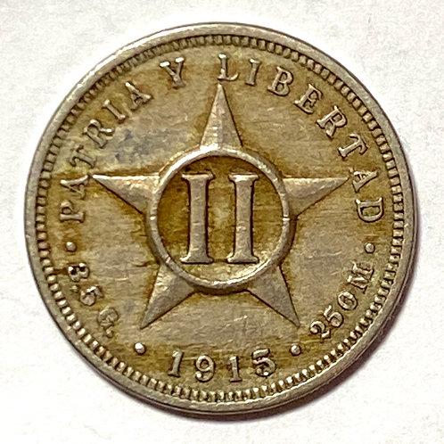 CUBA 1915 DOS CENTAVOS
