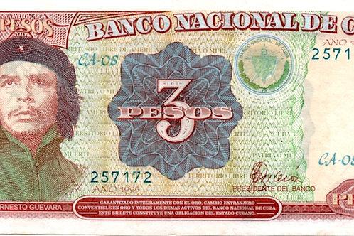 cuba 3 pesos 1995 único año che