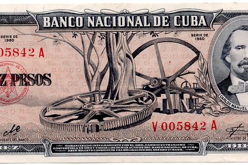 10 PESOS CUBA 1960 FIRMA CHE # LOW V005842 CARLOS MANUEL DE CESPEDES