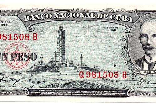 1 PESO CUBA 1958 JOSE MARTI UNCIRCULATED