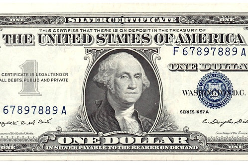 US. SERIES 1957 A ONE DOLLAR SILVER CERTIFICATE