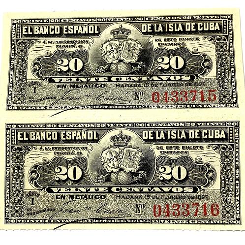 CUBA  20 CENTAVOS 1897 BANCO ESPAÑOL DE LA ISLA DE CUBA